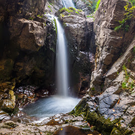 Fotinovo waterfalls by Petar Shipchanov - Landscapes Waterscapes ( rock, mountain, leaves, reflection, waterfall, grass, stones, river, autumn, long exposure, water )