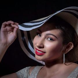 The Hat by Sue Matsunaga - People Portraits of Women