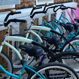 Bike Rack on the Island  by Lorraine D.  Heaney - Transportation Bicycles