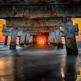 Sun Timing by Ken Wagner - Buildings & Architecture Bridges & Suspended Structures ( ken wagner, hdr, nature, florida, sunset, pier, gulf of mexico, long ex, nilon,  )