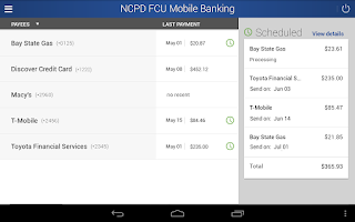 Screenshot of NCPD FCU Mobile Banking