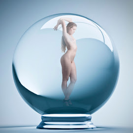 Hailey XV by Xavier Wiechers - Digital Art People ( body, model, ball, nude, one, beautiful, sphere, leisure, shape, adult, people, female, woman, inside, hailey, glass, redhead, light, conceptual, gymnastics, energy, posture )