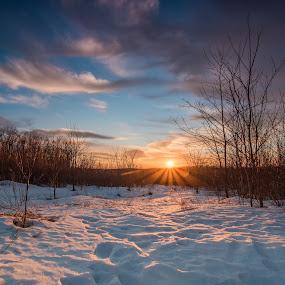 Sunset over the snow by Jason Lemley - Landscapes Sunsets & Sunrises ( clouds, sunburst, winter, sunset, snow, trees,  )