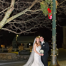 Happily ever after by Tammy Belanger - Wedding Bride & Groom ( lights, park, wedding, wedded bliss, snow, nighttime, flowers, bride, groom )