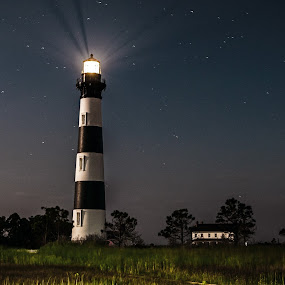 Full Moon Bodie by Stephan Herzog - Landscapes Starscapes ( bodie island lighthouse, grasses, north carolina,  cape hatteras national seashore, cape hatteras national seashore, obx, nags head, stars, trees, full moon, night, light )