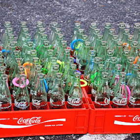 Coke Bottle Ring Toss by Jamie Myers - Artistic Objects Other Objects ( coke, beverage, carnival, rings, coca-cola, bottles, game, toss, bottle, soda )