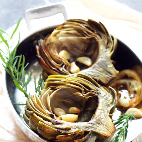 Roasted Artichokes with Roasted Garlic Butter