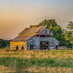 Sun setting on old barn by Jim Harris - Buildings & Architecture Decaying & Abandoned ( barn, old, sunset, golden, abandoned, pasture )