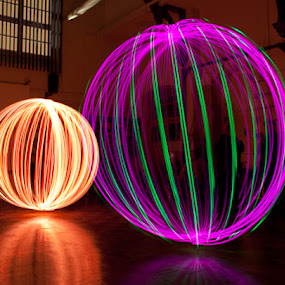 Double Orb by Andro Andrejevic - Abstract Light Painting ( painting by light, light painting, reflections, indoors )