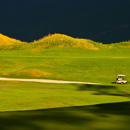 Last one out by Mike O'Connor - Sports & Fitness Golf ( course, ball, predator ridge, sunset, golf, cart, bc, british columbia,  )