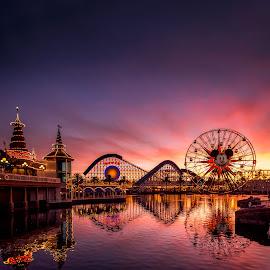 Sunrise Over California Adventure by Jake Egbert - City,  Street & Park  Amusement Parks ( california adventure, vacation, 2014, sunset, family, california, disneyland, travel, disneyland vacation )