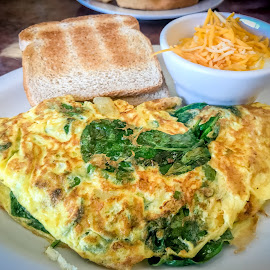 Breakfast YUM!!! by T Sco - Food & Drink Plated Food ( toast, spinach, egg, cereal, plate, omlette, breakfast, bowl, food, cheese, morning )
