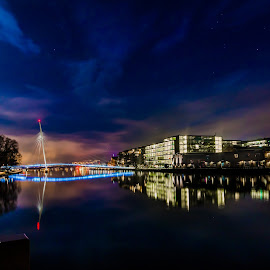Full moon by Geir Blom - City,  Street & Park  Skylines ( water, night photography, city lights, long exposure, full moon, bridge, river )