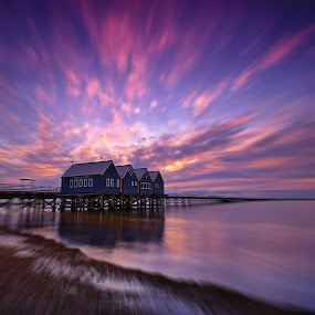 sunset by the jetty by Sim Kim Seong - Landscapes Cloud Formations