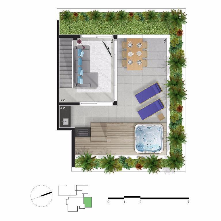 Planta Cobertura Duplex  Pav Superior - Unid 63 m²- 218 m²