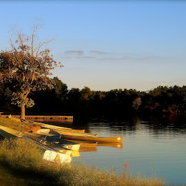 Lazy Summer Day by Wally VanSlyke - Landscapes Beaches ( indiana, boats, midwest, summer, lake, summit lake, henry county in )