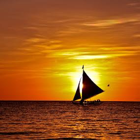 Paraw Sailing by Yipe Tangonan - Landscapes Sunsets & Sunrises