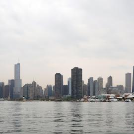 Chicago by Dawn Hoehn Hagler - City,  Street & Park  Skylines ( chicago skyline, navy pier, skyline, lake michigan, chicago,  )