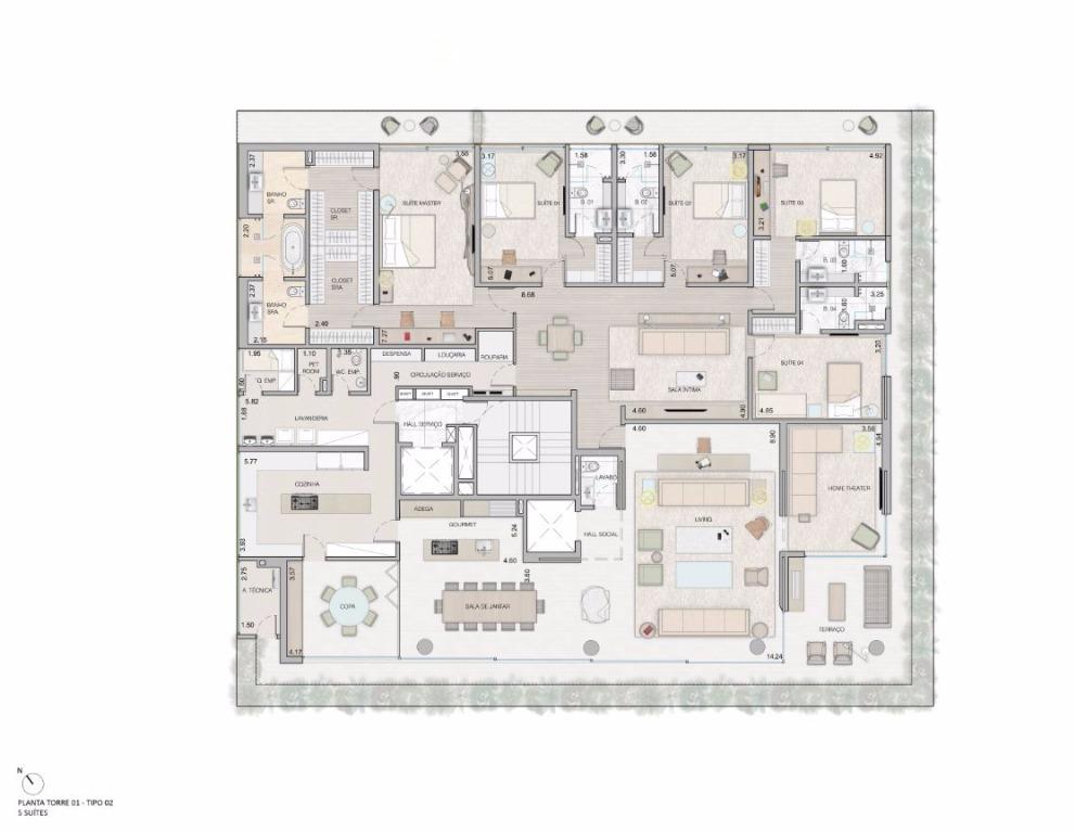 Planta Tipo - 5 Suítes - 549 m²