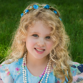 flowers and pearls by Judy Deaver - Babies & Children Child Portraits ( flowers, outdoors, smiles, pearls )