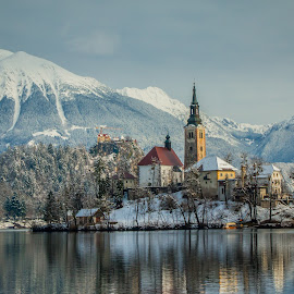 by Mario Horvat - City,  Street & Park  Vistas ( building, mountains, winter, church, snow, bled, castle, lake, island )