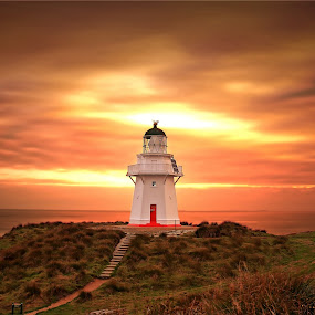 Waipapa Point Evening by Jomy Jose - Landscapes Sunsets & Sunrises ( hannahsdreamz, light house, invercargill, jomy jose, evening, waipapa point light house, new zealand )
