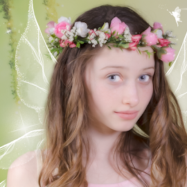 Pixie Girl by Chris Cavallo - Digital Art People ( sparkle, pink flowers, flowerhead, flowers, pink, digital manipulation, enchanted, wings, girl, fairy, digital art )