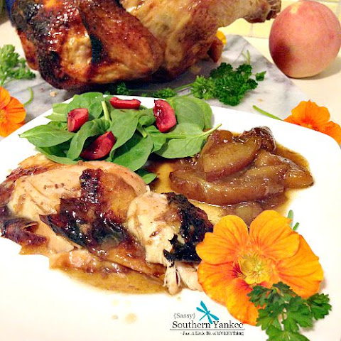 "Darn Good Ginger ""Beer Can"" Chicken with Roasted Peaches {Gluten Free}"