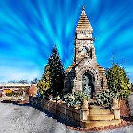 Richards Family Mausoleum by Liam Douglas - Buildings & Architecture Statues & Monuments ( sky, blue, mausoleum, cemetery, resting place, burial, eternal )