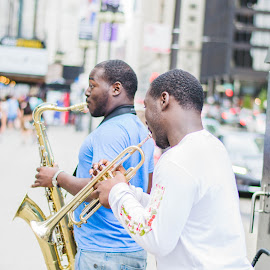 Chicago Brass Boys by Nicki Seefried - People Musicians & Entertainers ( music, street performers, jazz, trumpet, streets, entertain, chicago, saxaphone, city )