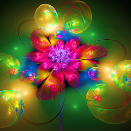 Bubbles and Flower by Cassy 67 - Illustration Abstract & Patterns ( bubble, digital art, bubbles, fractal, digital, fractals, flower )
