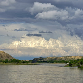 Missouri River Clouds by Jim Czech - Landscapes Cloud Formations ( clouds, cloudscape, valley, storm, river )