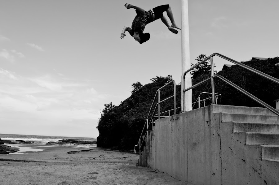 Flying High by Brock Walsh - People Portraits of Men ( flying, backflip, extreme, black and white, beach, flip, jump )
