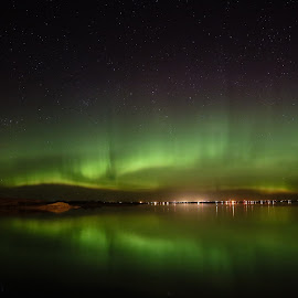 Slimer Sky by Laura Gardner - Novices Only Landscapes ( water, lights, green, nd, northern lights, lake sakakawea )