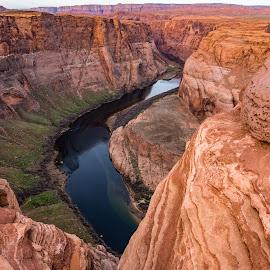 South Portion of Horseshoe Bend by Steven Aicinena - Landscapes Travel ( colorado river, horseshoe bend )