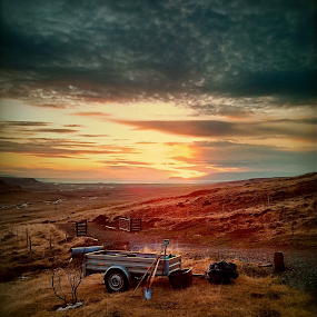 Sunset in west Iceland by Kristján Karlsson - Landscapes Sunsets & Sunrises ( iceland, sunset, landscape, farming )