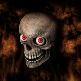 Human Skull With Eyes And Scary, Evil Look 3D Rendering  by Aleksandar Ilic - Illustration Holiday ( magic, renders, rotate, copilot, trick or treat, anger, hell, red, 3d, skeleton, halloween, fire, scary, element, jaw, old, metal, raw, crossbones, rendering, corps, animation, light, background, crazy, style, evil, party, alive, death, dangerous, dead, talking, video, eyes, colors, head, happy halloween, design, skull, human, art, horror, haloween, smoke, bone, magical, mouth, illustration, fun )