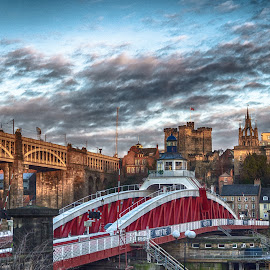Newcastle in Autumn by Adam Lang - Buildings & Architecture Bridges & Suspended Structures ( sky, autumn, high level bridge, frost, bnewcastle, gateshead, cathedral, bridge, keep, swing bridge )
