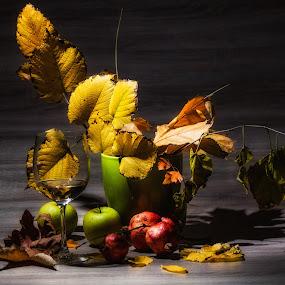 * * * by Petar Shipchanov - Artistic Objects Still Life ( wine, autumn, still life, glass, leav, apples, leaves )