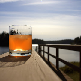Peachy Keen by Erica Lanham - Food & Drink Alcohol & Drinks ( vacation, alcohol, peachy keen, peach, sunshine, lake, margarita, relaxation, drinks, dock,  )