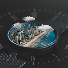 Time's Perspective  by Kyle Re - Digital Art Things ( detail, skyline, perception, ocean, beauty, cityscape, beach, coast, city, time, macro, micro, times, below, buildings, above, focus, perspective, clouds, clock, watch, airplane, hours, coastal, depth, overlay, small )