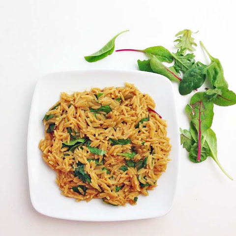 Creamy Orzo with Greens