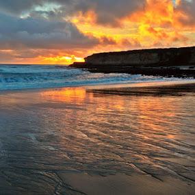 Cracked Mirror by Derek Gibbins - Instagram & Mobile iPhone ( sand, cliffs, sunset, ocean, beach, rocks )