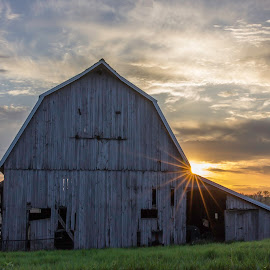 Setting in spring. by Doug Craigmile - Landscapes Sunsets & Sunrises ( countryside, iowa, barn, sunset, farmland )