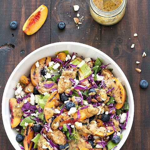 Grilled Nectarine and Chicken Salad with Honey Mustard Dressing