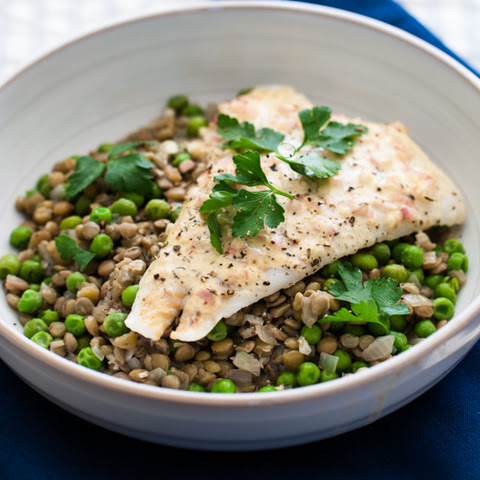 Mustard Roasted Fish + Lentils, Peas, and Spinach