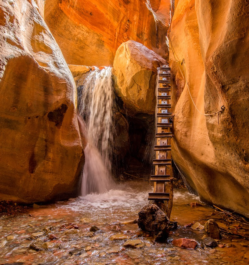 Slippery Ascent by Eric Yiskis - Landscapes Deserts ( slot canyon, utah, kanarracreek, landscape, zion, kanarra )