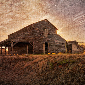 Old Times by Robert Mullen - Buildings & Architecture Decaying & Abandoned ( farm, clouds, field, fence, barn, grass, sunset, sundown, farmland, barns )