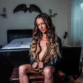 Biker Babe by Brad Chapman - Nudes & Boudoir Boudoir ( brad chapman photography, boudoir, 2018, falling on bed, jacket, sarah, nude )