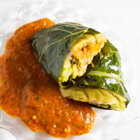 Collard Wrapped Roasted Veggie Tamales